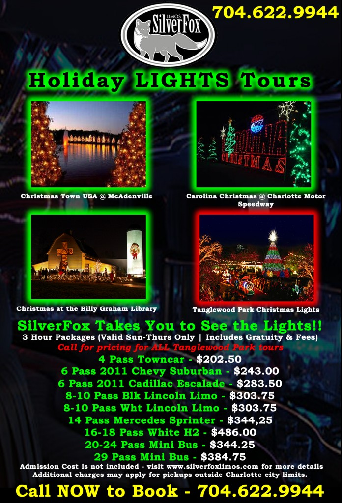 Holiday lights tours silverfox limos for Charlotte motor speedway christmas lights nc