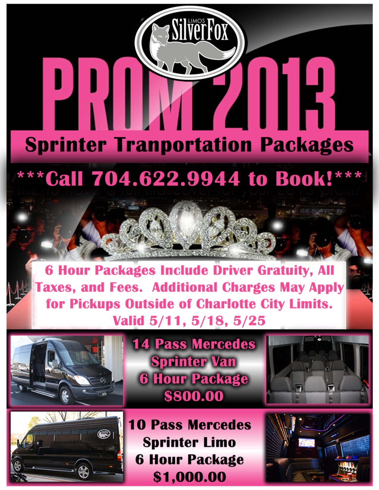 Mercedes Sprinter Prom Packages Limo Service Charlotte